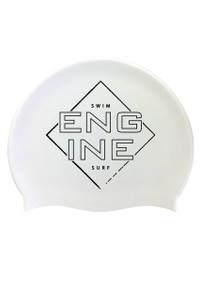 White Square Edge Silicone Cap Black Logo