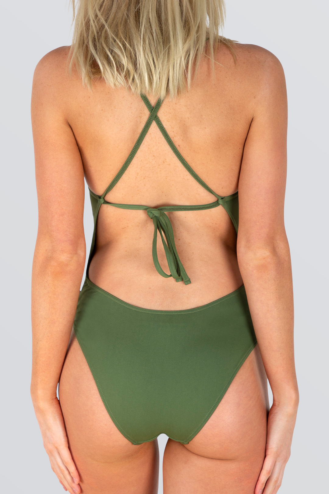 Capri Tie Back 1pce - Outline - Army Green