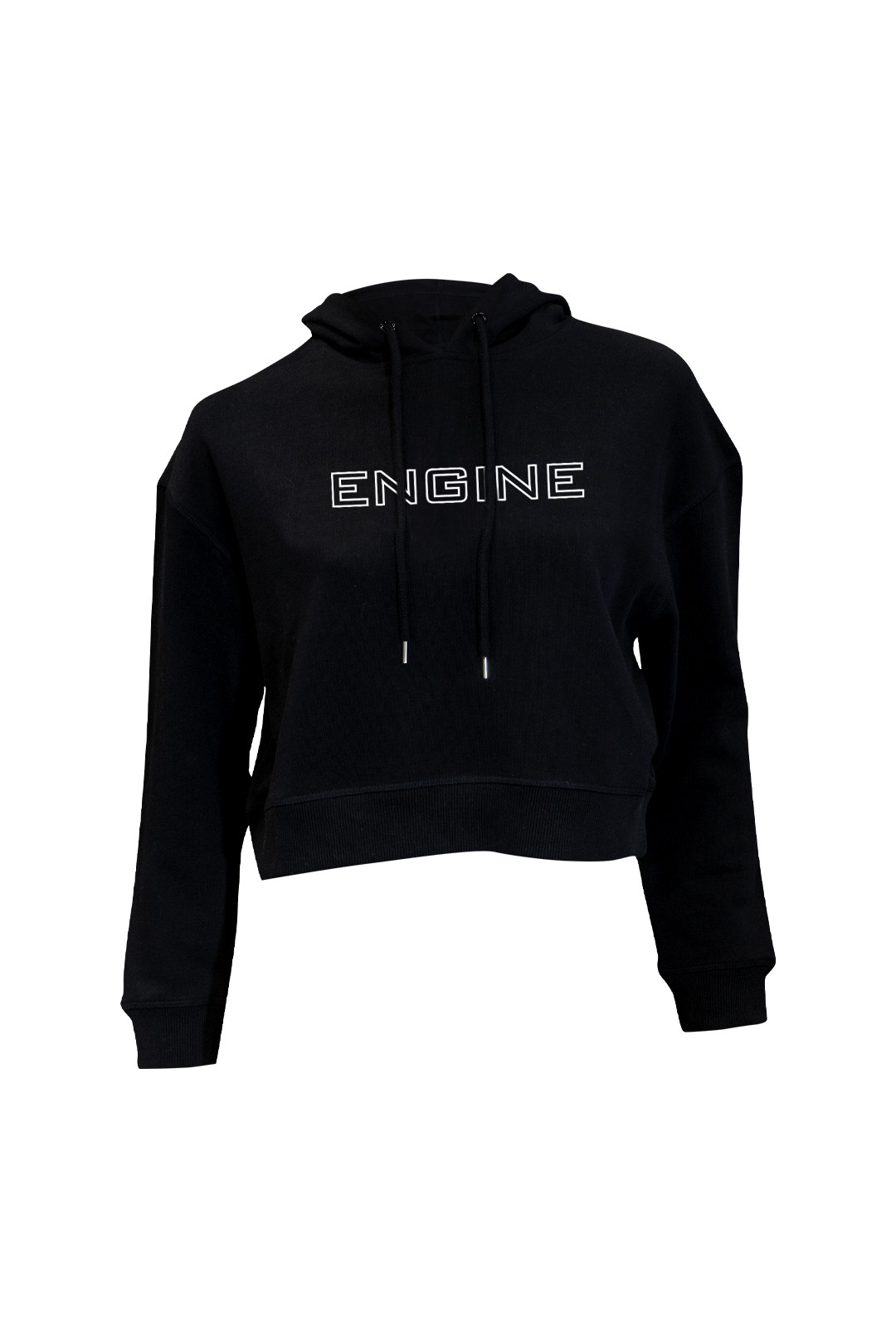 Crop Hoodie - Outline Black