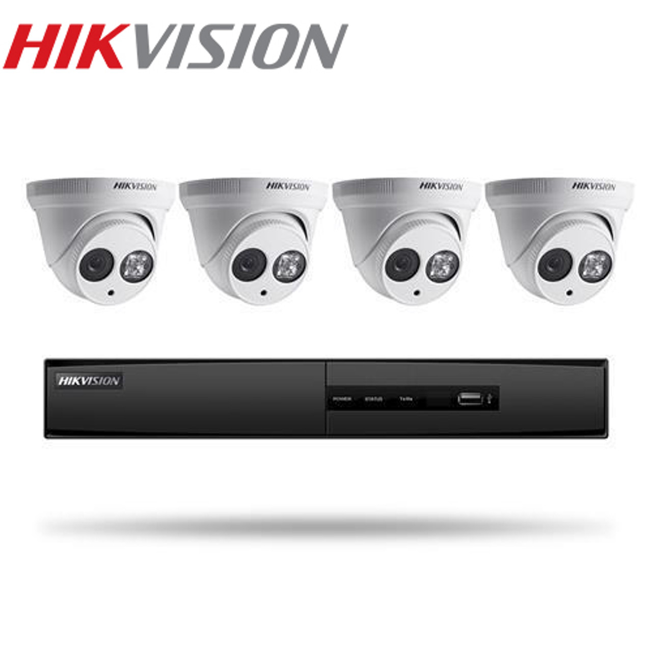 Hikvision IP Security Camera Kit, 4 - Channel 5MP NVR with 1TB HDD and 6 x  4MP Outdoor Turret Cameras