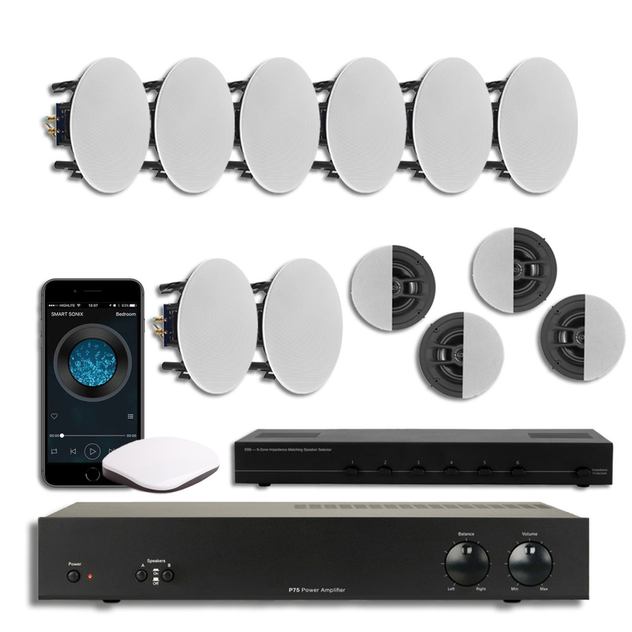 Multi Room Speaker System With Streaming Audio Player