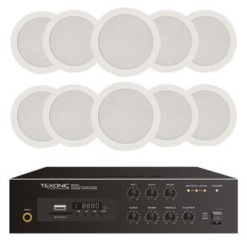 70V Audio 10 x speaker System | 120W Amplifier