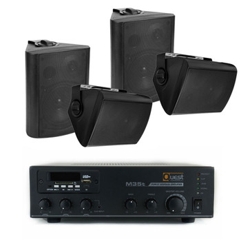 70V Commercial Audio System | 4 wall speakers & 35W Mixer Amplifier