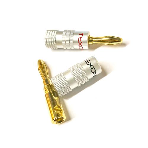 Gold Plated Speaker Banana Plugs, Screw Type - Pair (S-8000)