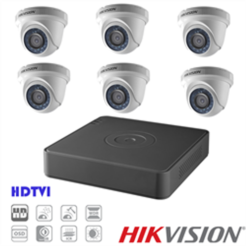 Hikvision TVI Security Camera Kit, 8 Channel DVR, 6 x 1080p Turret Cameras