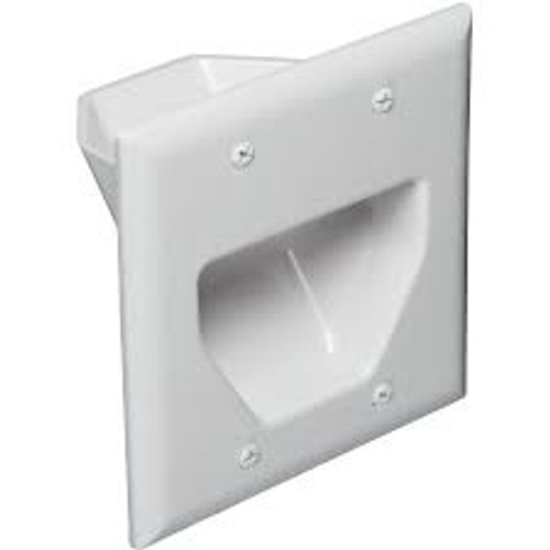 2-Gang Recessed Low Voltage CablePlate (C-45-0002WH)