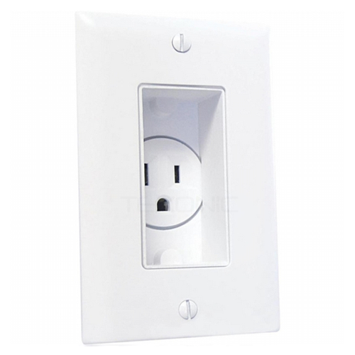 Decor recessed receptacle with white wall plate