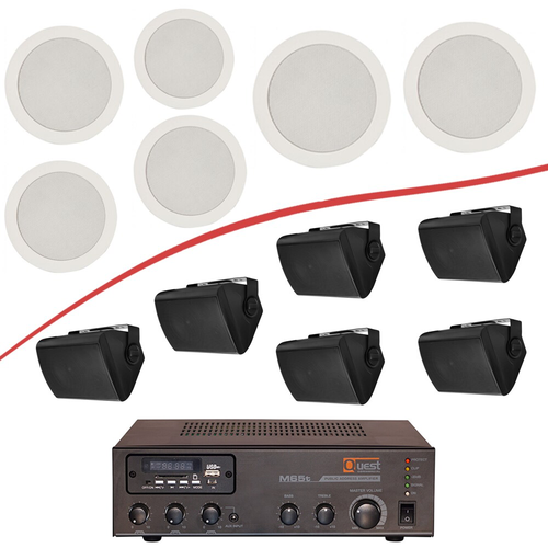70V Sound Systems + 6 In ceiling / On wall speakers (A-B60-C/W)