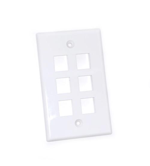 TEXONIC 6 Port Keystone Wall Plate - White