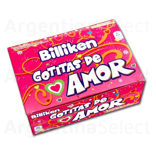 Billiken Gotitas De Amor Hard Candy Assorted Flavors Strawberry, Lemon, Orange, Cherry & Pineapple, 35 g / 1.23 oz (box of 12). ArgentinaSelect.com
