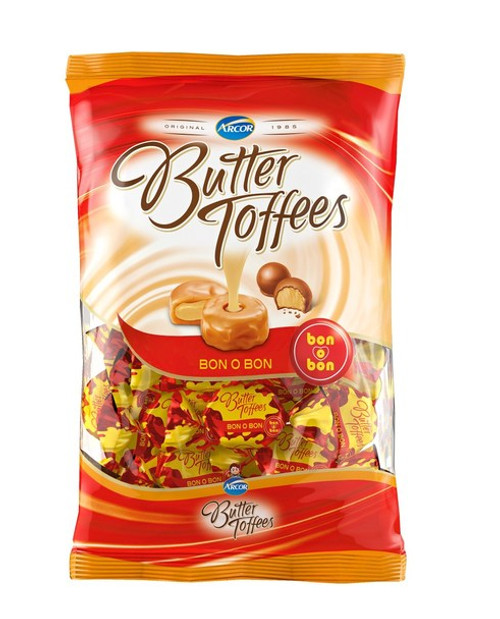 Butter Toffees Soft Buttery Caramel Candies with Bon o Bon Filling Party Bag, 822 g / 1.8 lb ba