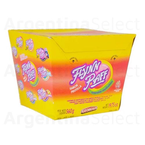 Caramelos Flynn Paff Strawberry Flavored Soft Candy, 560 g / 19.75 oz Box. ArgentinaSelect.com