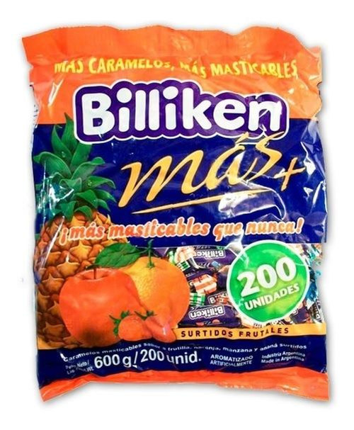 Billiken Más Caramelos Masticables Soft Candies Assorted Fruit Flavors, 600 g / 21.16 oz / 200 u