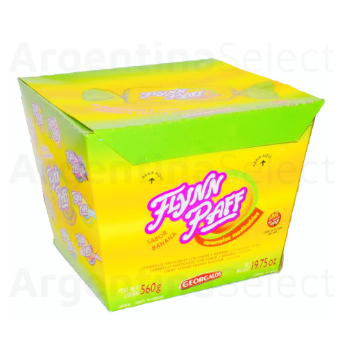 Caramelos Flynn Paff Banana Flavored Soft Candy, 560 g / 19.75 oz Box