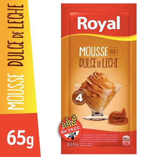 Royal Mousse Dulce de Leche Ready to Make Mousse, 4 servings per pouch, 65 g / 2.29 oz (box of 6 pouches). Argentina Select.