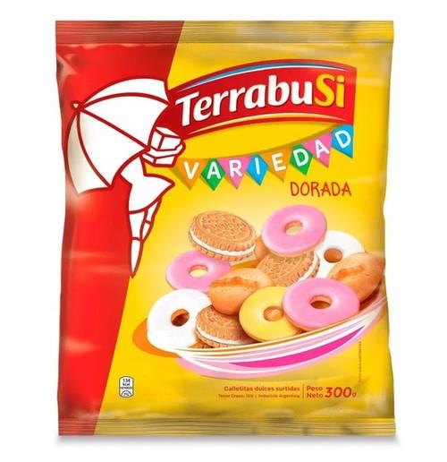 Terrabusi Variedad Dorada Galletitas Dulces Assorted Vanilla Cookies Boca de Dama, Duquesa & Anillos , 300 g / 10.58 oz bag