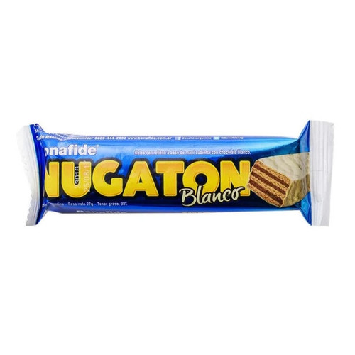 Nugaton Candy Bar with Peanut Butter, Cacao and White Chocolate Coated, 27 g / 0.95 oz (pack of 6)  -  Azul