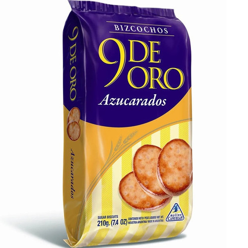 9 de Oro Biscuits with Sprinkled Sugar Bizcochos con Azucar Traditional, 200 g / 7.1 oz (pack of 3). ArgentinaSelect.com