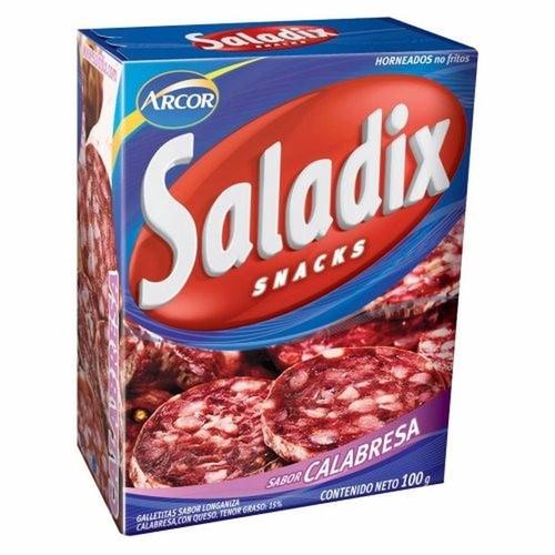 Saladix Calabresan Salami Snacks, Baked Not Fried, 100 g / 3.5 oz box (pack of 3). Argentina Select.