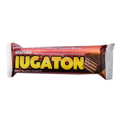 Nugaton Oblea con Relleno a Base de Maní, Cacao y Azucar Cubierta con Chocolate Bar with Peanut Butter, Cacao and Chocolate Coated, 27 g / 0.95 oz (Pack of 6)  -  Marron
