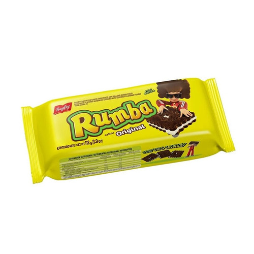 Galletita Rumba Sandwich Cookies with Chocolate and Coconut Cream Original Flavor, 112 g / 3.9 oz (pack of 3)