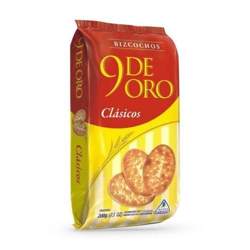 9 de Oro Classic Biscuits Traditional Bizcochos, 200 g / 7.1 oz (pack of 3). ArgentinaSelect.com