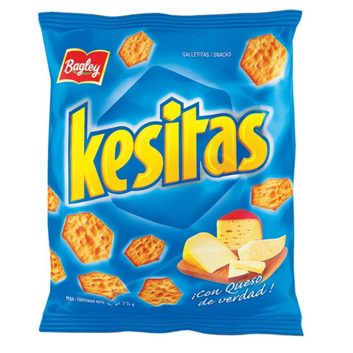 Kesitas Cheese Snack Crackers Hex Shape, 75 g / 2.6 oz (pack of 3). ArgentinaSelect.com