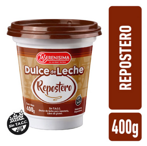 La Serenísima Dulce de Leche Repostero Thicker Perfect for Cakes, Bites, Biscuits & Baking at Home (400 g / 14.1 oz). Argentina Select.