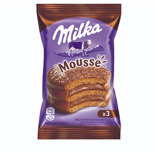 Milka Alfajor Triple Cookie with Chocolate Mousse, 55 g / 2 oz (pack of 6). Argentina Select.