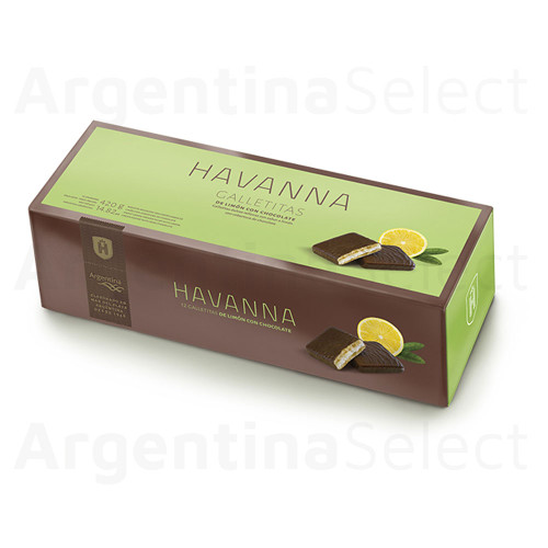 Havanna Galletitas Limon y Chocolate Lemon Cookies With Chocolate And Filled With Creme Lemon 12 units, 420 g / 14.8 oz. Argentina Select.
