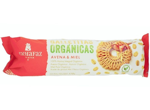 Cachafaz Organic Cookies Whole Wheat Flour with Oats & Honey, 170 g / 6 oz (pack of 3) Orgánicas Avena y Miel