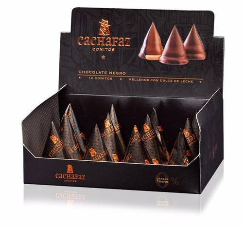 Cachafaz Dulce de Leche Conitos Cone Cookies Filled with Creamy Dulce de Leche and Dark Chocolate Covered, 456 g / 16 oz (box of 12)