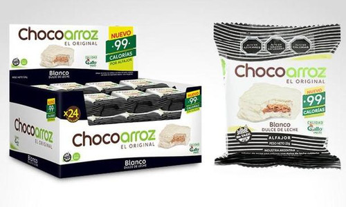 Chocoarroz Wholegrain Rice White Chocolate Alfajor with Dulce de Leche Gluten Free - Very Low Calories (box of 24)