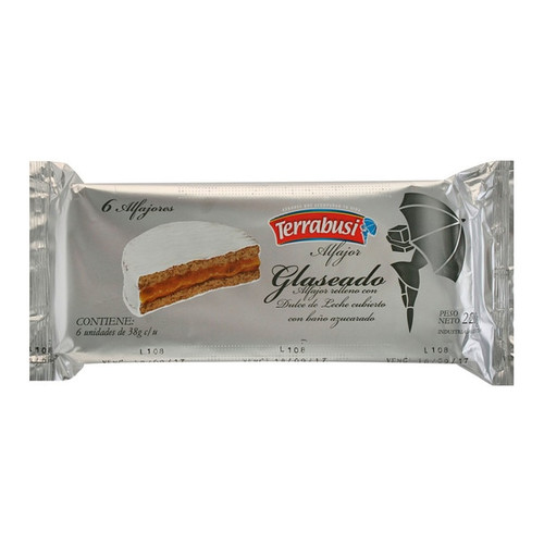 Argentine alfajor Terrabusi with sugar coating and dulce de leche filling, box of 6. Argentina Select.