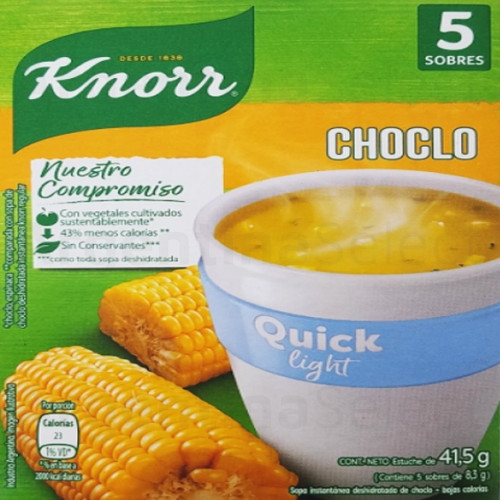 Knorr Quick Light Ready to Make Soup Choclo Corn, 5 pouches, 50 g / 1.8 oz. Argentina Select.