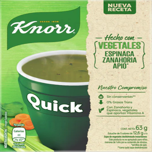 Knorr Quick Ready to Make Soup Vegetables, 5 pouches, 63 g / 2.22 oz. 5 sobres. Argentina Select.