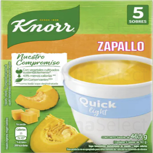 Knorr Quick Light Ready to Make Soup Zapallo Pumpkin, 5 pouches, 50 g / 1.8 oz. Argentina Select.