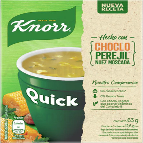 Knorr Quick Ready to Make Soup Corn Choclo, 5 pouches, 63 g / 2.22 oz. Sopa Knorr. Argentina Select.