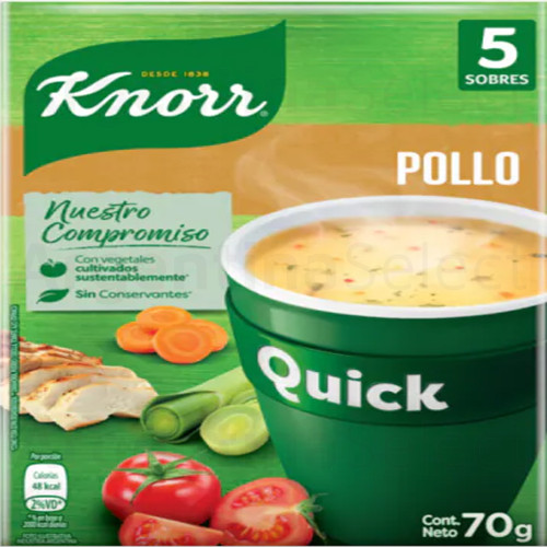 Knorr Quick Ready to Make Soup Chicken with Vegetables, 5 pouches, 70 g / 2.46 oz. Argentina Select.