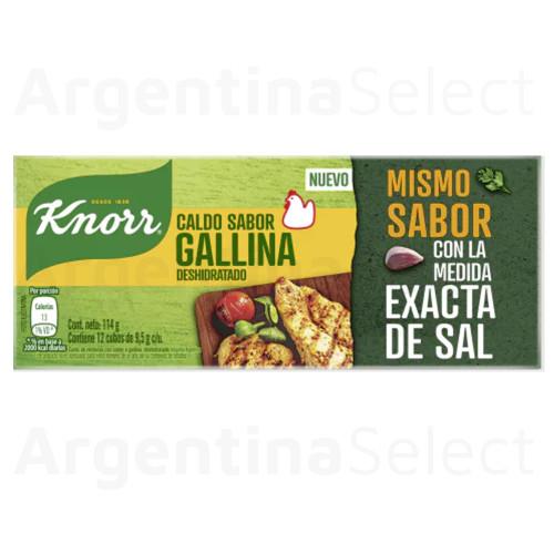 Knorr Calditos Gallina Dehydrated Chicken Soup Broth, 114 g / 4.02 oz (12 caldos per box). Argentina Select.