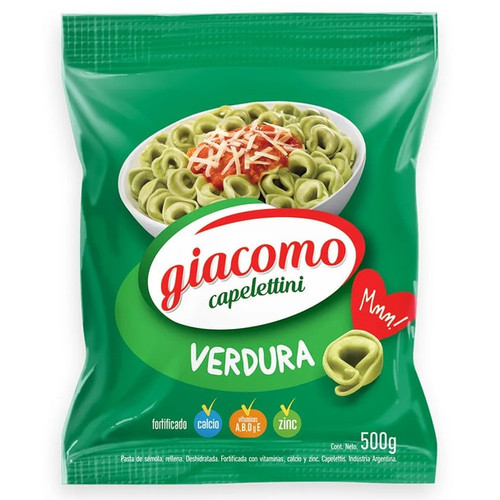 Giacomo Capelettini Verduras Vegetables Delicious Classic Pasta, 500 g / 17.6 oz bag