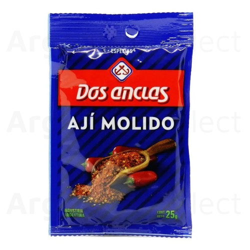 Dos Anclas Ají Molido Ground Chile Spice, 25 g / 0.88 oz pouch (pack of 3). Argentina Select.