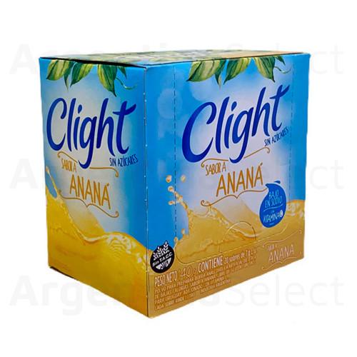 Jugo Clight Anana Powdered Juice Pineapple Flavor No Sugar, 8 g / 0.3 oz (box of 20). Argentina Select.