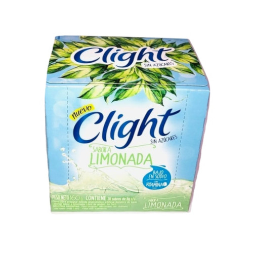Jugo Clight Limonada Powdered Juice Lemon Flavor No Sugar, 8 g / 0.3 oz (box of 20). Argentina Select.