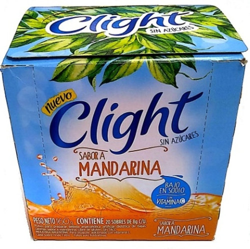 Jugo Clight Mandarina Powdered Juice Tangerine Flavor No Sugar, 8 g / 0.3 oz (box of 20). Argentina Select.