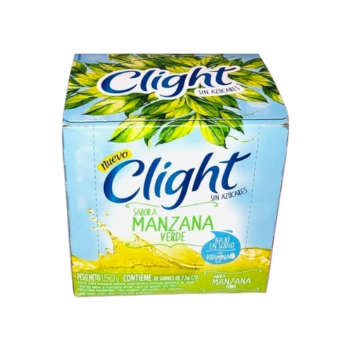 Jugo Clight Manzana Verde Powdered Juice Green Apple Flavor No Sugar, 8 g / 0.3 oz (box of 20). Argentina Select.