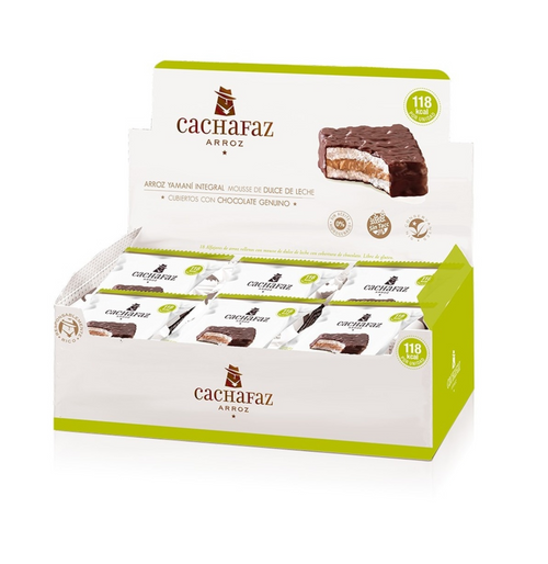 Cachafaz WholeGrain Rice Alfajores with Dulce de Leche - Low Calorie Only 118 kcal (box of 18) Alfajor de Arróz. Gluten Free. Sin TACC. ArgentinaSelect.com