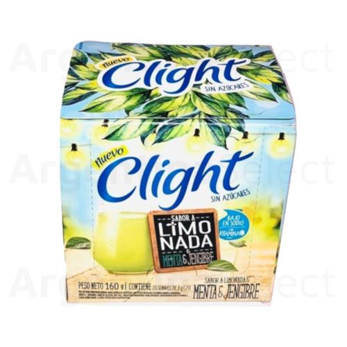 Jugo Clight Limonada, Menta y Jengibre Powdered Juice Lemon, Mint & Ginger Flavor No Sugar, 8 g / 0.3 oz (box of 20). Argentina Select.