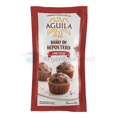 Águila Baño De Repostería Chocolate Con Leche Repostero Milk Chocolate Coating Confectioner's, 150 g / 5.29 oz pouch. Argentina Select.