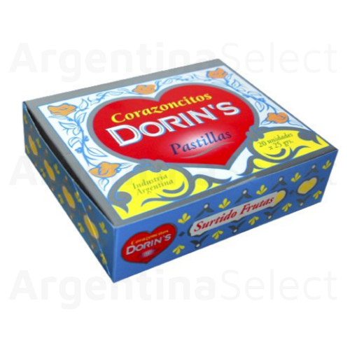 Pastillas Dorin's Frutal Hard Candy Heart Shaped Mixed Flavors Strawberry, Lemon, Orange & Tangerine Corazoncitos, 25 g / 0.9 oz (box of 20) 500 gr. Argentina Select.